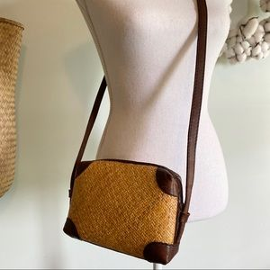 Vintage Elliot Lucca woven straw leather crossbody